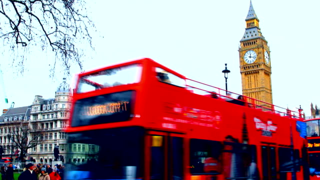 London, Big Ben, doubledecker bus video