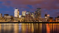 London Canary Wharf at sunset, Time Lapse video
