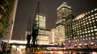 London Canary Wharf Low Angle Winter Night Time Lapse video