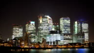 London Canary Wharf Night Time Lapse video