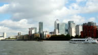 POV London Canary Wharf Viewed From River Thames video
