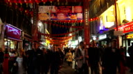 London Chinatown Night Street Scene In Gerrard St video