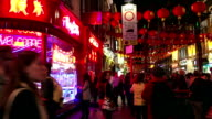 London Chinatown Nightlife Street Scene In Gerrard St video