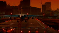 London City Airport - Ultra closeup showing the landing moment of a large airliner during sunset video