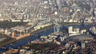 London cityscape aerial from airplane video