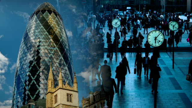London Diptych Video Wall with Financial Landmarks video