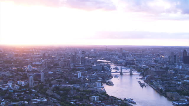 London, England. Aerial shot at Sunset video