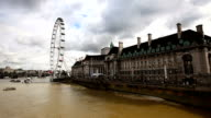 London eye panning to Houses Of Parliament video