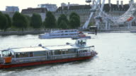 London Eye with Thames River and ships video