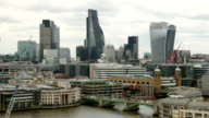 London financial district cityscape. video