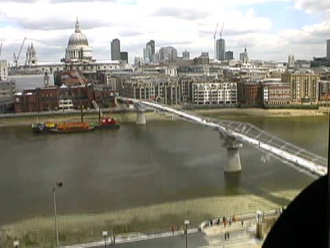 London Flashback: MIllennium Bridge being Constructed, Cloudy Day video