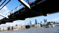 T/L London Millennium Bridge And City video