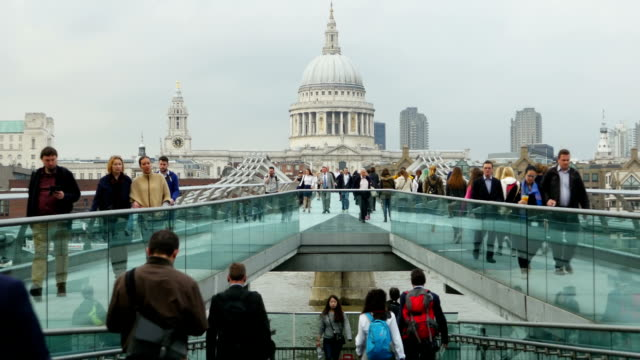 London Millennium Bridge And St Paul's Cathedral (4K/UHD to HD) video