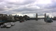 London panorama, Thames River, Tower Bridge (HD720p) video