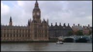 HD: London Parliament (Big Ben) Exterior Over Boat On River video