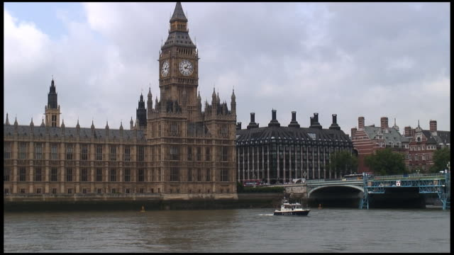 HD: London Parliament (Big Ben) Exterior Over Boat On River video