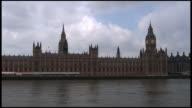 (HD1080i) London Parliament (Big Ben) Exterior Over River Thames: Wide video