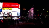 T/L London Piccadilly Circus At Night video