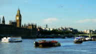 London River Thames And Houses Of Parliament video