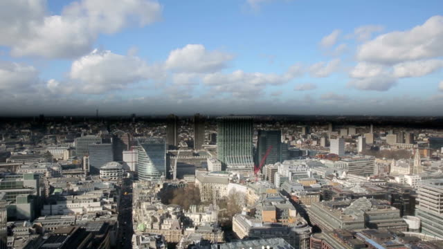 London Skyline aerial moving down video