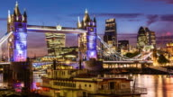 London skyline at sunset with tower bridge video