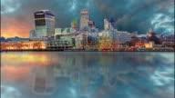 London skyscrapers at night, Britain, UK video