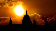 London St Paul`s Cathedral and orange sunset video