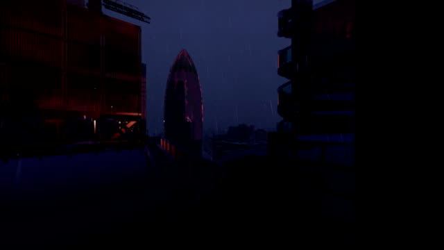 London stormy lightnings, Military Chopper passing, Swiss Reinsurance Headquarters, The Gherkin, raining video