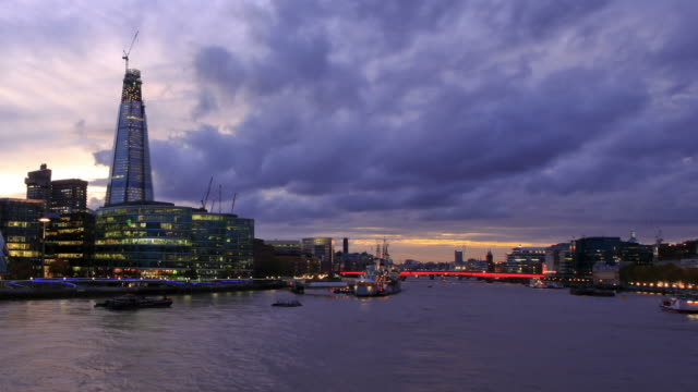 London sunset HD timelapse. River Thames from Tower Bridge video