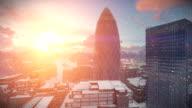 London time lapse sunrise, Swiss Reinsurance Headquarters, The Gherkin, snowing video