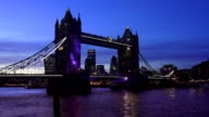 London Tower Bridge And The City At Night video