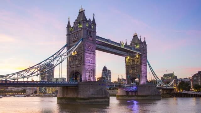 London, Tower bridge at dusk video