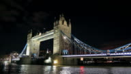 London Tower Bridge at Night, United Kingdom video
