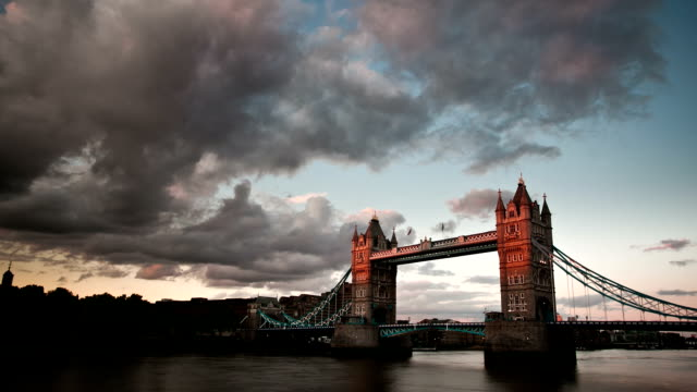 London Tower Bridge at sunset video