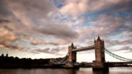 London Tower Bridge at sunset video