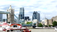 London Tower Bridge with Business Skyline video
