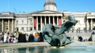 London Trafalgar Square Fountain And National Gallery video