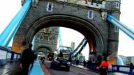 London, traffic on the Tower bridge video