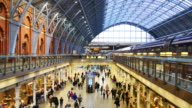 4K London train tube underground station, passengers in rush hour, England, UK video