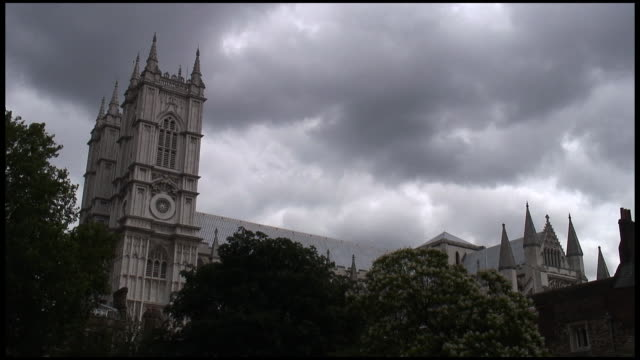 (HD1080i) London Westminster Abbey Below Storm Clouds.  Global Warming video