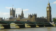 London Westminster Bridge And Big Ben At Midday (UHD) video