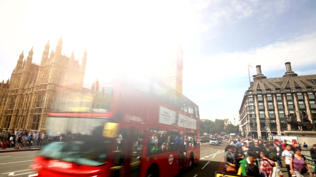 London Westminster Bridge with Big Ben, Time Lapse video