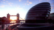 London's City Hall and Tower Bridge video