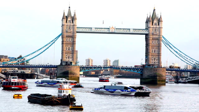 London's Tower bridge. Thames river video