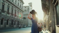Lone traveler tourist woman in Rome video