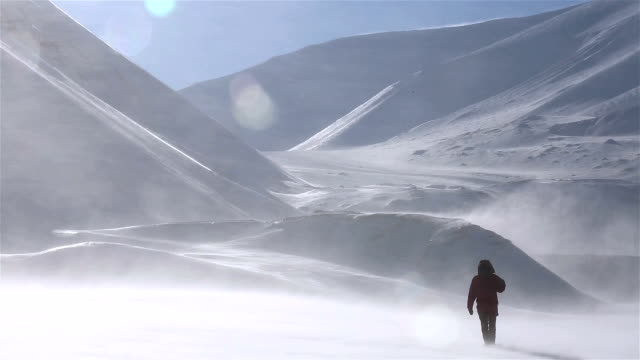 A lone traveller is walking through a snowstorm on a background of snow-capped mountains. video