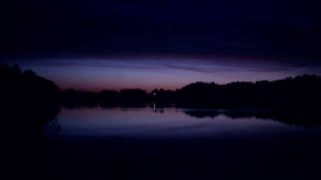 Lonely ascetic house on the lake at night video
