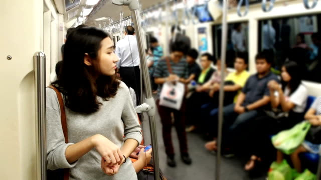 Lonely girl in subway train video
