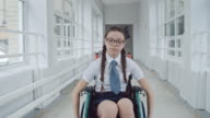 Lonely Handicapped Schoolgirl in Hallway video