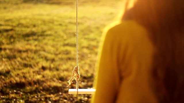 Lonely Swing Woman Sitting Loneliness  Autumn video